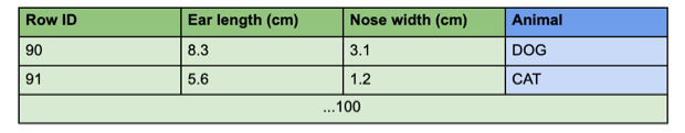 Table with a testing dataset for neural networks