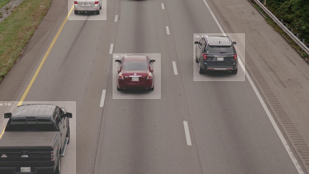 Object Detection Computer Vision Inferencing showing Traffic with Vehicles