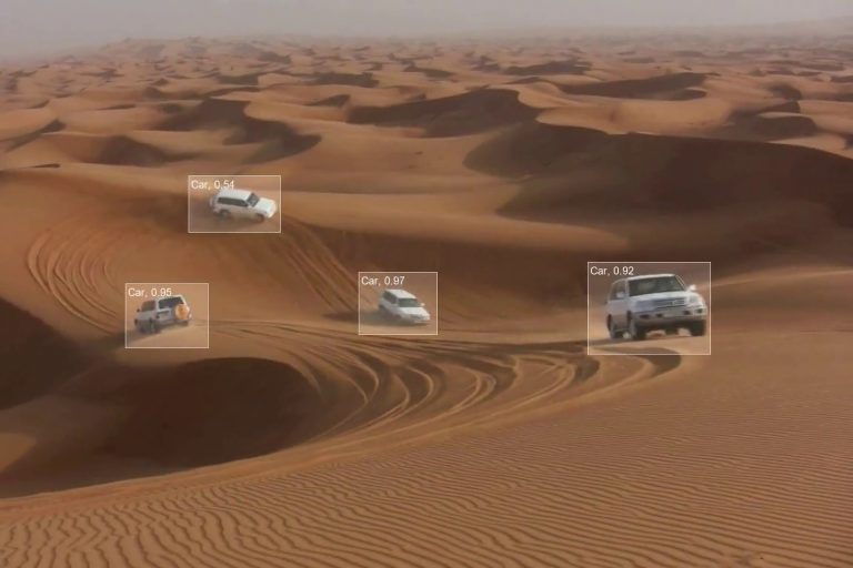 Object detection with multiple cars in a desert setting