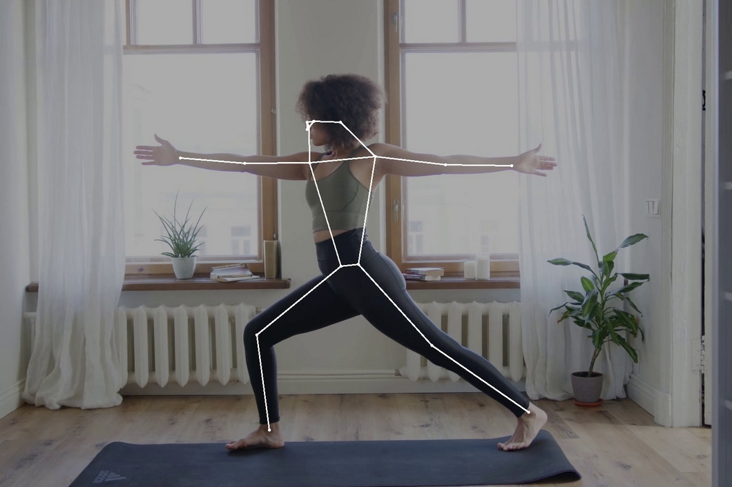 Pose Estimation with a video stream applied to a yoga pose