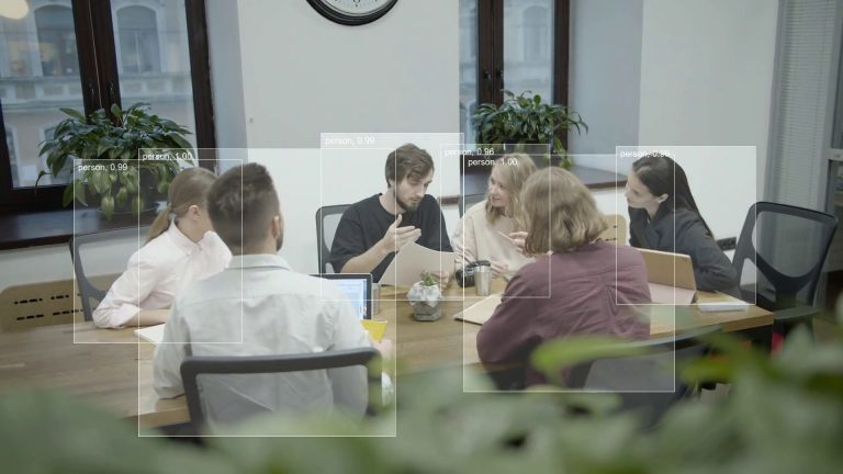People in meeting room, example of object detection