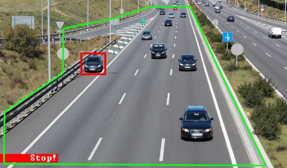 video analytics to detect a stopped vehicle