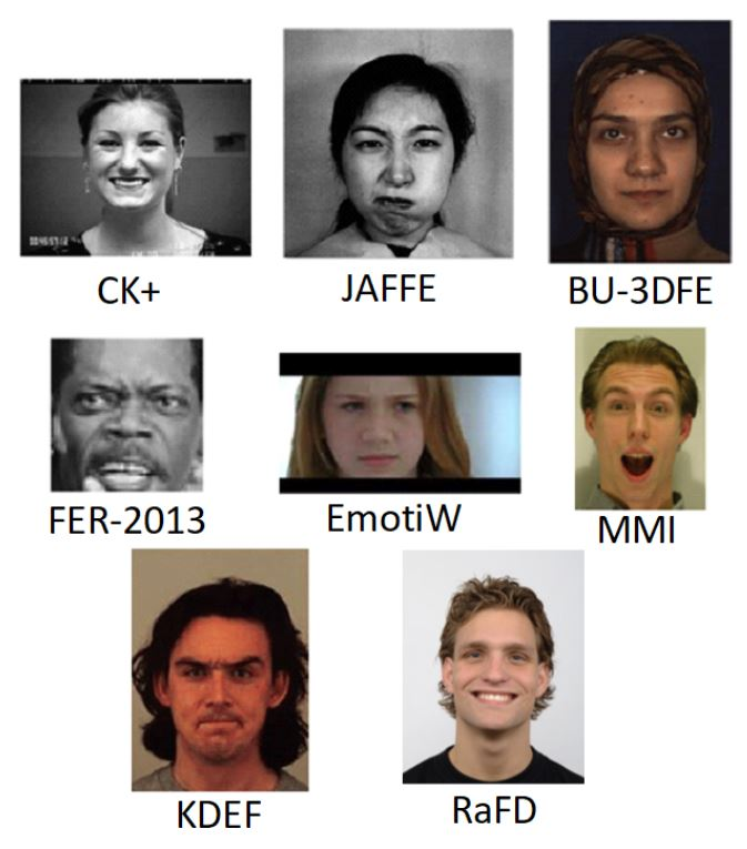 Example images of facial emotion recognition datasets